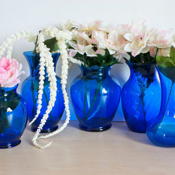 Instant Collection 5 Cobalt Blue Vases for Weddings and Baby Showers Deep Blue Glass for Flower Arrangements
