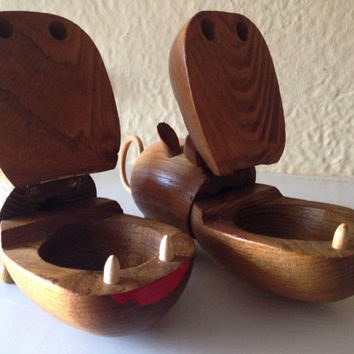 Mid Century Modern Teak Wood Zoo Line Hippo Couple Two Hippos Figurines Desk Organizers Decor