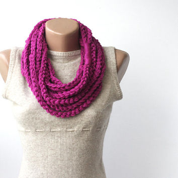 Deep magenta scarf infinity scarf crochet chunky wool Red violet Barbie pink  fall winter accessories
