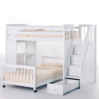 Complete Twin over Twin Stair Loft Bunk Bed in White Wood Finish