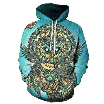 3D Hooded Sweatshirt Men Women 2018 Psychedelic Style Mandala Owl Print Mens Hoodies And Sweatshirts Harajuku Casual Sweat Homme
