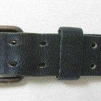 Vintage 70s Black leather belt double buckle
