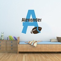 Wall Decals Custom Boys Name Personalized Name Sports Football Soccer Nursery Baby Kids Initial Gift Monogram Wall Vinyl Decal Sticker Bedroom Murals