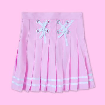 Pink skirt (white line & bow tie)