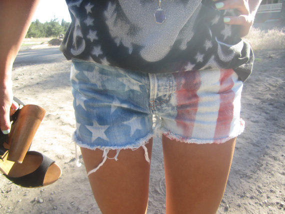 American Flag shorts Plus studding by yourafever on Etsy