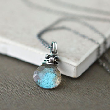 Labradorite Pendant, Small Wire Wrapped Briolette Gemstone, Oxidized Sterling Silver, Delicate Chain