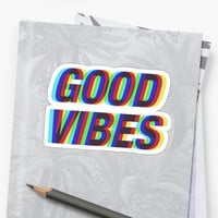 'Good Vibes Techicolor' Sticker by peakednthe90s
