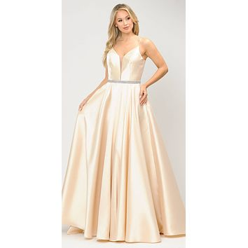 Long Satin Prom Dress with Spaghetti Straps Champagne