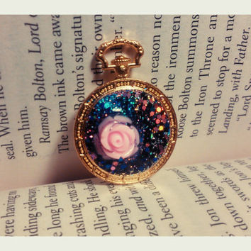 Handmade Resin Jewelry - Rose and Universe - The Little Prince - Resin Pendant - Necklace Charm