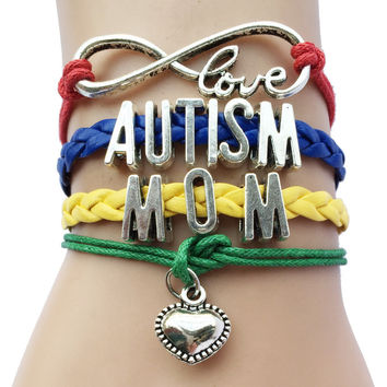Infinity Love Autism Mom or Mum Grandma / Nana/ Aunt/Sister Awareness Heart Charm Leather Handmade Bradied Puzzle Piece Bracelet
