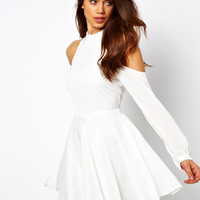 True Decadence Skater Dress with High Neck and Cold Shoulder