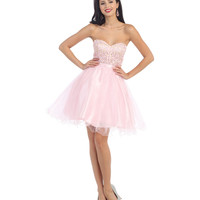 Strapless Bubblegum Pink Dress 2015 Prom Dresses
