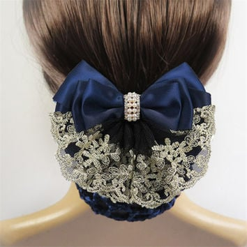 Texture Bow Hair Clip With Net Pocket Hair Pins Accessories For Female Office Women's Tulle String Headwear Hair Rope Band