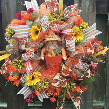 Fall Deco Mesh,Fall Wreath,Harvest Wreath,Front Door Wreath,Welcome Wreath,Scarecrow Wreath,Fall Decor,Deco Mesh Wreath,Burlap Wreath,Fall