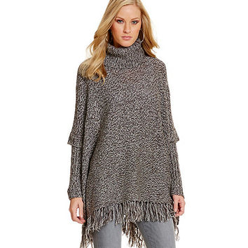 RD Style Turtleneck Fringe-Trim Poncho | Dillards