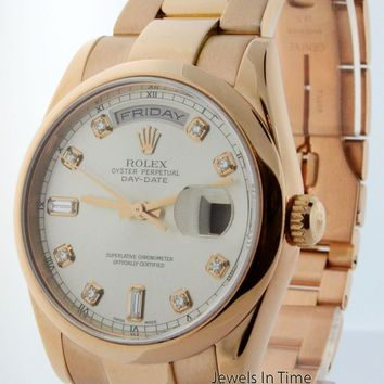 Rolex Day Date Mens 18k Rose Gold Diamond Dial Automatic Watch 118205 K