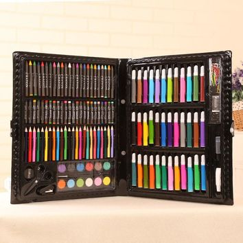 150pcs Children School Color Pencil Art Set Drawing Painting Tool Crayon Watercolor Gift Box Package