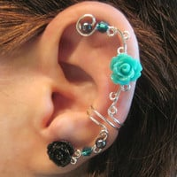 "Non Pierced Cartilage Ear Cuff  ""Pearls & Roses"" Cartilage Conch Cuff Silver tone Prom"