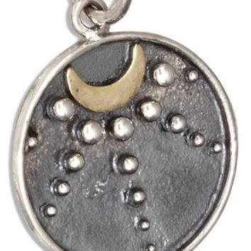 Sterling Silver Talisman Bronze Crescent Moon With Moonbeams Round Charm