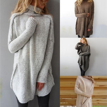 Women Fashion Autumn and Winter Casual Gray Irregular Pullover Turtleneck Sweater  [9222490244]