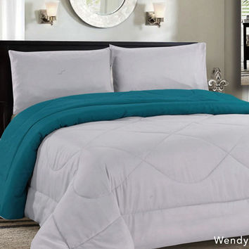 Down Alternative Reversible Comforter Grey/Aqua