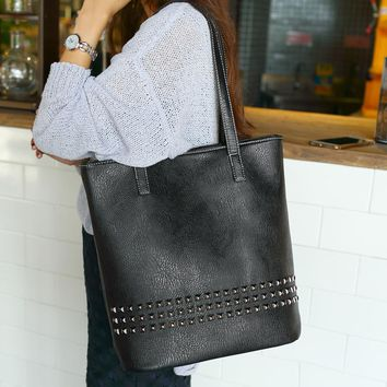 Vegan Leather Studded Tote Purse