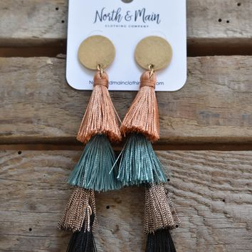 Post Tassel Earring, Teal Multi