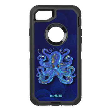 Psychedelic Colorful Blue Octopus With Brown Eyes OtterBox Defender iPhone 7 Case