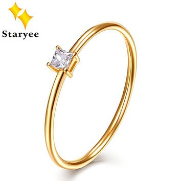 STARYEE Certified 0.05CT VS H Princess Cut Natural Diamond Engagement Rings Real 18Karat 750 Yellow Gold Ring For Women Wedding