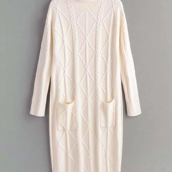 High Neck Dual Pocket Cable Knit Sweater Dress