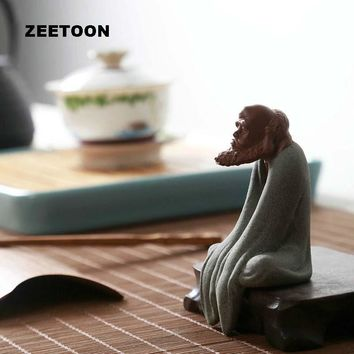 ZEETOON Yixing Ceramic Arts and Crafts Boutique Tea Ornaments Weathered Buddha Purple Sand Tea Per Dharma Desktop Decoration