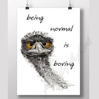 Being Normal is Boring, Humor quote, Instant download, Digital print,  Funny quote, Home decor, Digital download, Ostrich, room decor