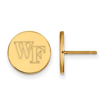 NCAA 14k Gold Plated Silver Wake forest University Small Disc Earrings