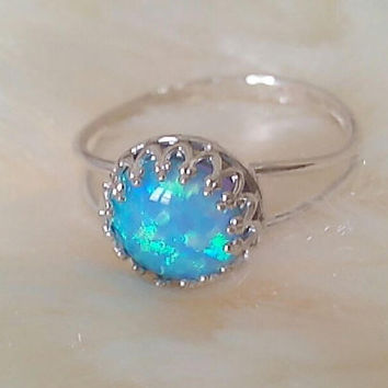 ENGAGEMENT opal ring blue opal 925 sterling silver Promise Ring opal engagement ring