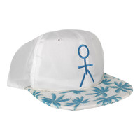 Stickman Snapback Hat (Nylon) - White / Blue / Palm Tree Brim