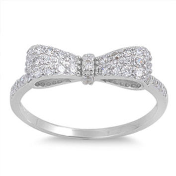 Bow Sterling Silver and CZ Ring