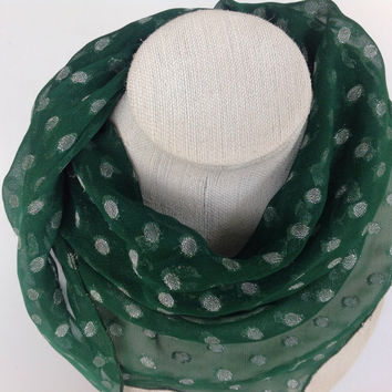 Green chiffon scarf, Silver polka dots headscarf, Hunter Green polka dots cowl scarf, head shawl, silk Triangle scarf