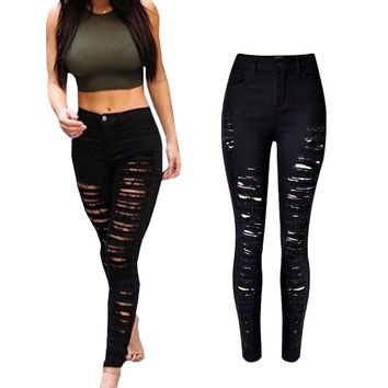 Skinny Jeans Woman High Waist Ripped Jeans For Women Pencil Pants Slim Trousers For Women Elastic Women's Jeans Plus Size