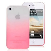 Gradient Pink Clear Protective Back Case Cover Guard for Apple Iphone 4/4s