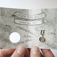 UNDER THIS MOON / Bracelet - Personalized lunar phase charm of your special night in sterling silver and silk, astronomy, sky, black, red