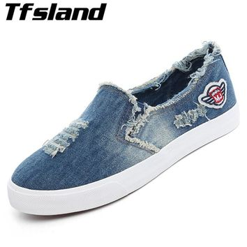 Unisex Trend Demin Soft Loafers Men Women Flat Canvas Shoes Breathable Walking Shoes Chaussure Zapatos Mujer Couples Sneakers