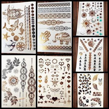 1PC Sparkle Gold Tattoos Turtle Dolphin Sea Horse Star Fish Shell Anchor Compass Design Metallic Temporary Tattoo Stickers AYS63