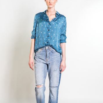 Silk Button Down Blouse in Sapphire & Silver Baby Cacti