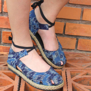Womens Espadrille With Ankle Wrap Flat Shoe, Javanese Ikat Textiles in Blue