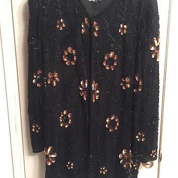 Vintage 80's Carina Sequin & Bead Embellished Tunic Style Jacket, XL Open Cardigan Style Black Copper Flower Jacket, Pure Silk Made in India