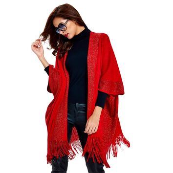 Patchwork Fringed Knitted Cape Cardigan