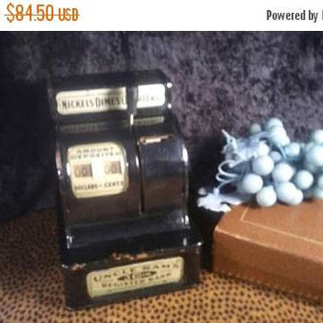 Now On Sale Uncle Sam's 3 Coin Register Bank - Mechanical Black Metal Bank - Tested & Works - Savings Bank Made by Western Stamping Corp.