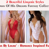 2 Beautiful Sexy Lingerie Styles, Red Teddy, White Teddy, Woman of His Dreams Fantasy Collection, Sexy Lingerie, 2 Babydolls, Sexy Intimates
