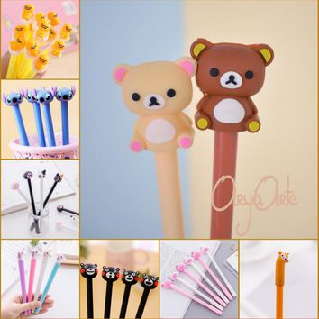 Cute Animal Gel Pen Rilakkuma Gudetama Stitch Unicorn Flamingo Cat Kawaii 0.5mm Pens for School Stationery
