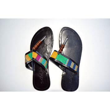 Kente Leather Black Flats Slippers
